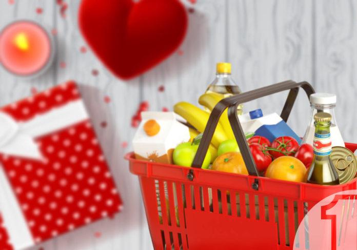 Ο Άγιος Βαλεντίνος σας χαρίζει πωλήσεις. Καλάθι σούπερ μάρκετ. Δώρα Αγίου Βαλεντίνου. Ena Blog